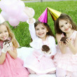 children's birthday party outdoors — Stock Photo