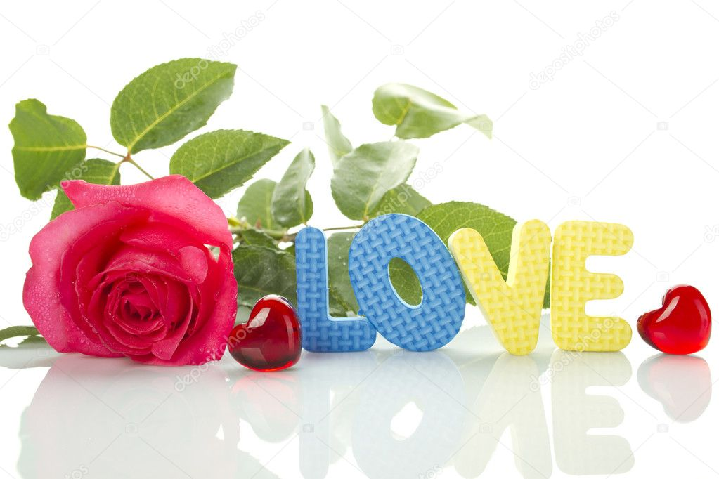 Beautiful red rose, two red hearts and a number of the text of the letters love. Isolated on white background — Stock Photo #5993419