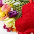 Tulips and red heart — Stock Photo #6020123