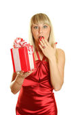 Beautiful girl with a big gift box — Stock Photo