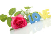 "Red Rose and the text of ""LOVE"" — Stock Photo"