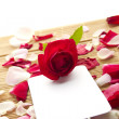 Card and roses — Stock Photo #6142177