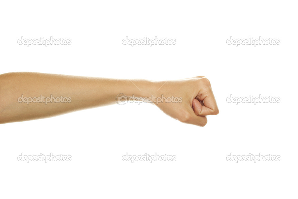 Close up of woman hand gesture shows his hand. Isolated on white background — Stock Photo #6148716