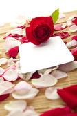 Carte et roses — Photo