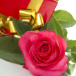 Stock Photo: Red Rose, gift box