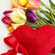Tulips and red heart — Stock Photo #6367934