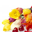 Foto Stock: Tulips and two red hearts