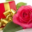Red Rose, gift box — Stock Photo