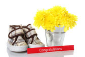Congratulations card for the newborn — Stock Photo
