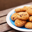 Chocolate chip cookies on a plate  — Stock Photo