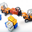 Model toy trucks shifted gifts — Stock Photo #5891606