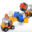 Stock Photo: Model toy trucks shifted gifts