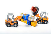 Model toy trucks shifted gifts — Stock Photo