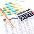 Royalty-Free Stock Photo: Financial chart, pen and calculator