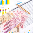 Stock Photo: Financial chart and datasheet. Brazilimoney and pen.