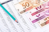 Spreadsheet data and Brazilian money — Stock Photo