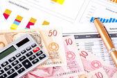 Financial chart and datasheet. Brazilian money and pen. — Stock Photo