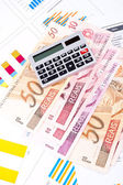 Financial chart and datasheet. Brazilian money. — Stock Photo