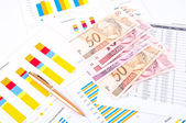 Financial chart, Brazilian money and pen — Stock Photo