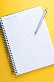 тетрадь и ручку — Стоковое фото