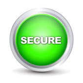 Secure glossy button — Stock Vector