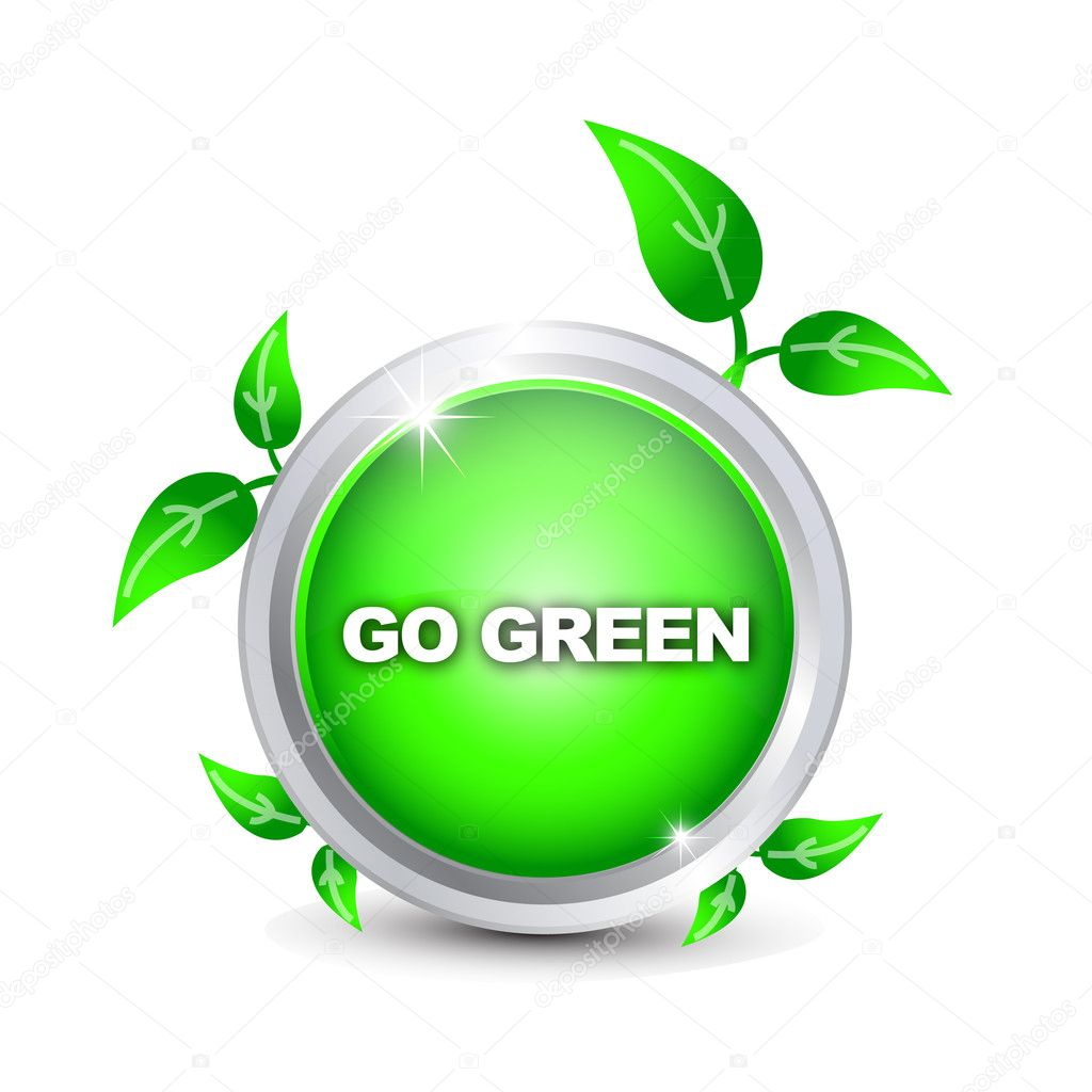Go Green button  Stock Vector #5705034