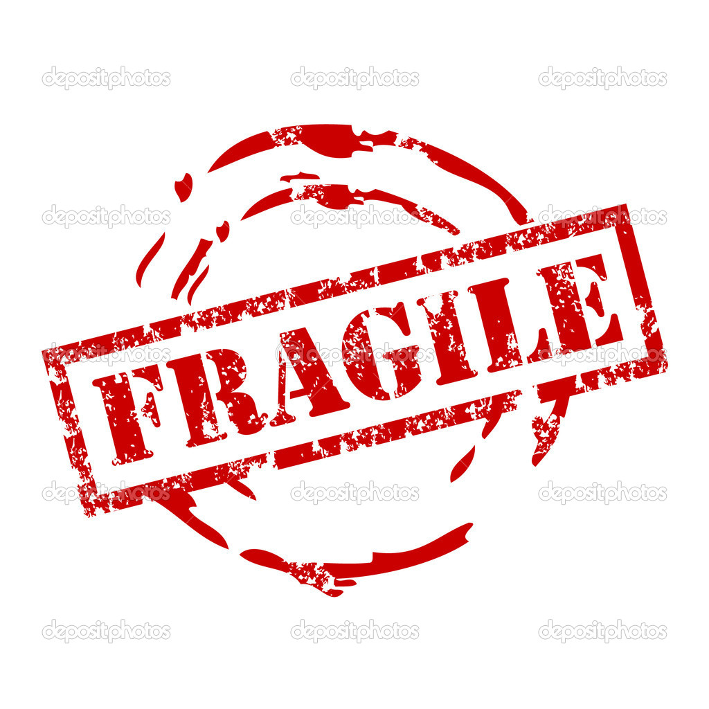 Vector fragile stamp with red ink — Stock Vector ...