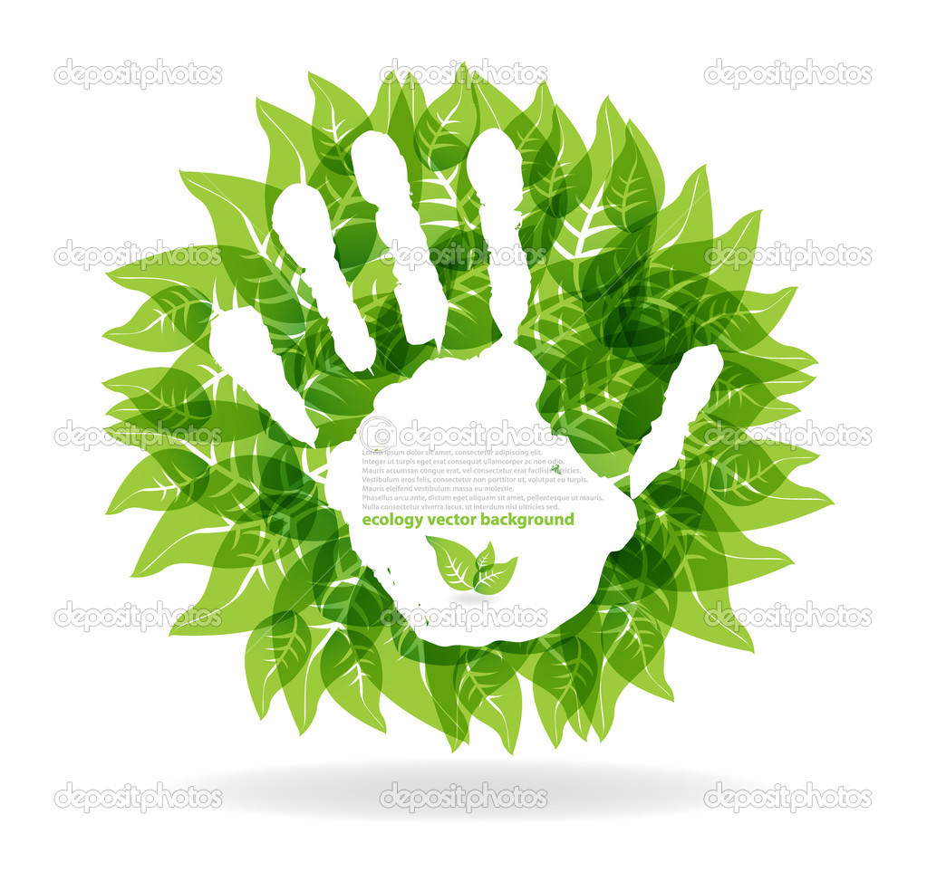 Nature concept.stop hand print — Stock Vector #5865020