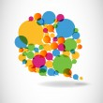 Talk in colors speech bubbles social media — Stock Vector