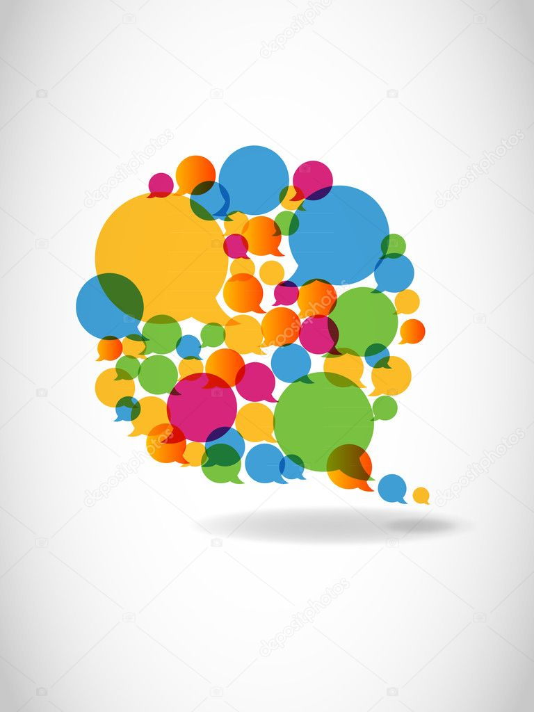 Talk in colors speech bubbles social media — Stock Vector #5879193