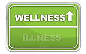 """Wellness vs. Illness"" Signpost — Stock Vector"