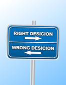 Right Decision and Wrong Decision Street Sign — Stock Vector