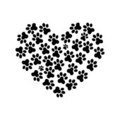 Heart Paw print 3 — Stock Vector