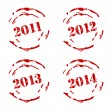 Stock Vector: New Year rubber stamp set