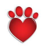 Love paw print — Stock Vector