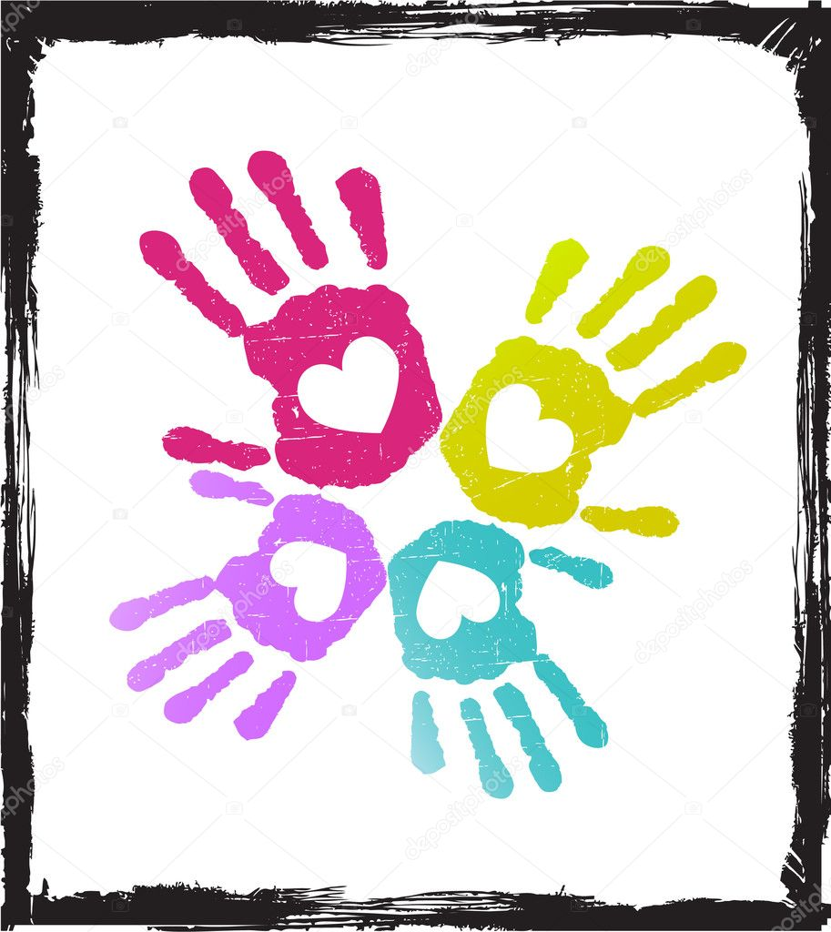 Abstract colorful lover hands vector.grunge concept. — Stock Vector #6444231