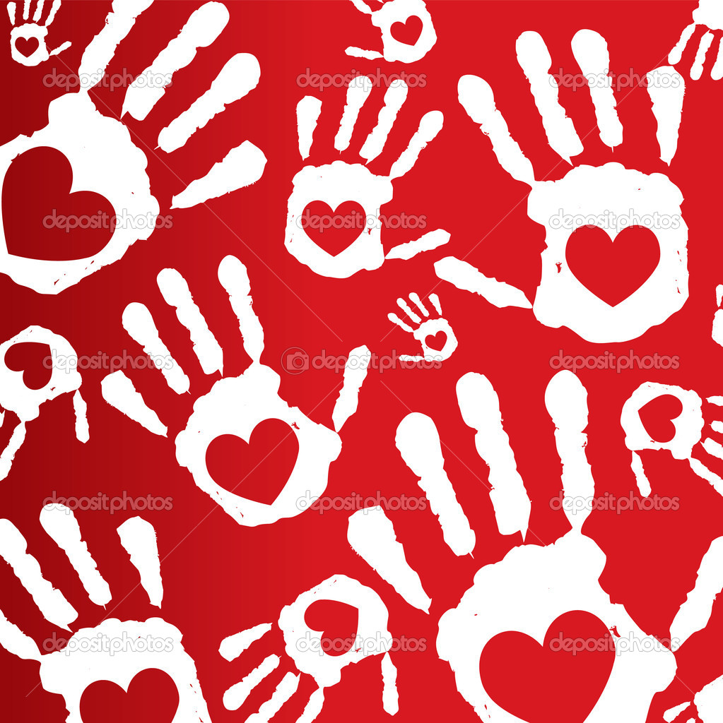  Love print hands.vector background.  Stock Vector #6444262