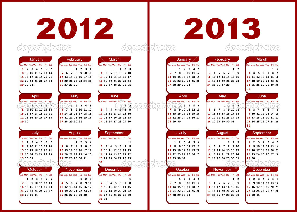 Calendar for 2012,2013.Red  letters and figures on a white background.  Stockvectorbeeld #6044707