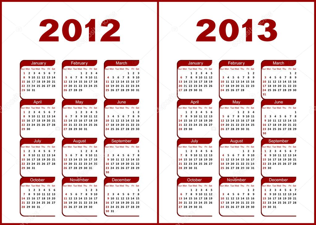 Calendar for 2012,2013.Red  letters and figures on a white background. — Vettoriali Stock  #6044707