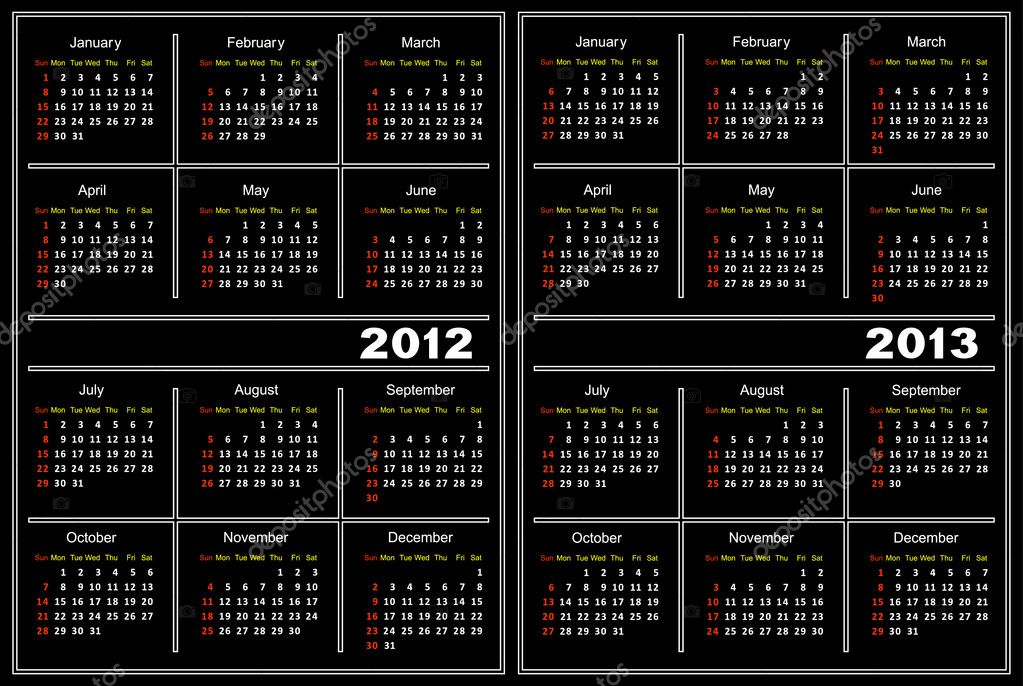 Template of a calendar of black color. A calendar for 2012 and 2013. — Stock Vector #6435180