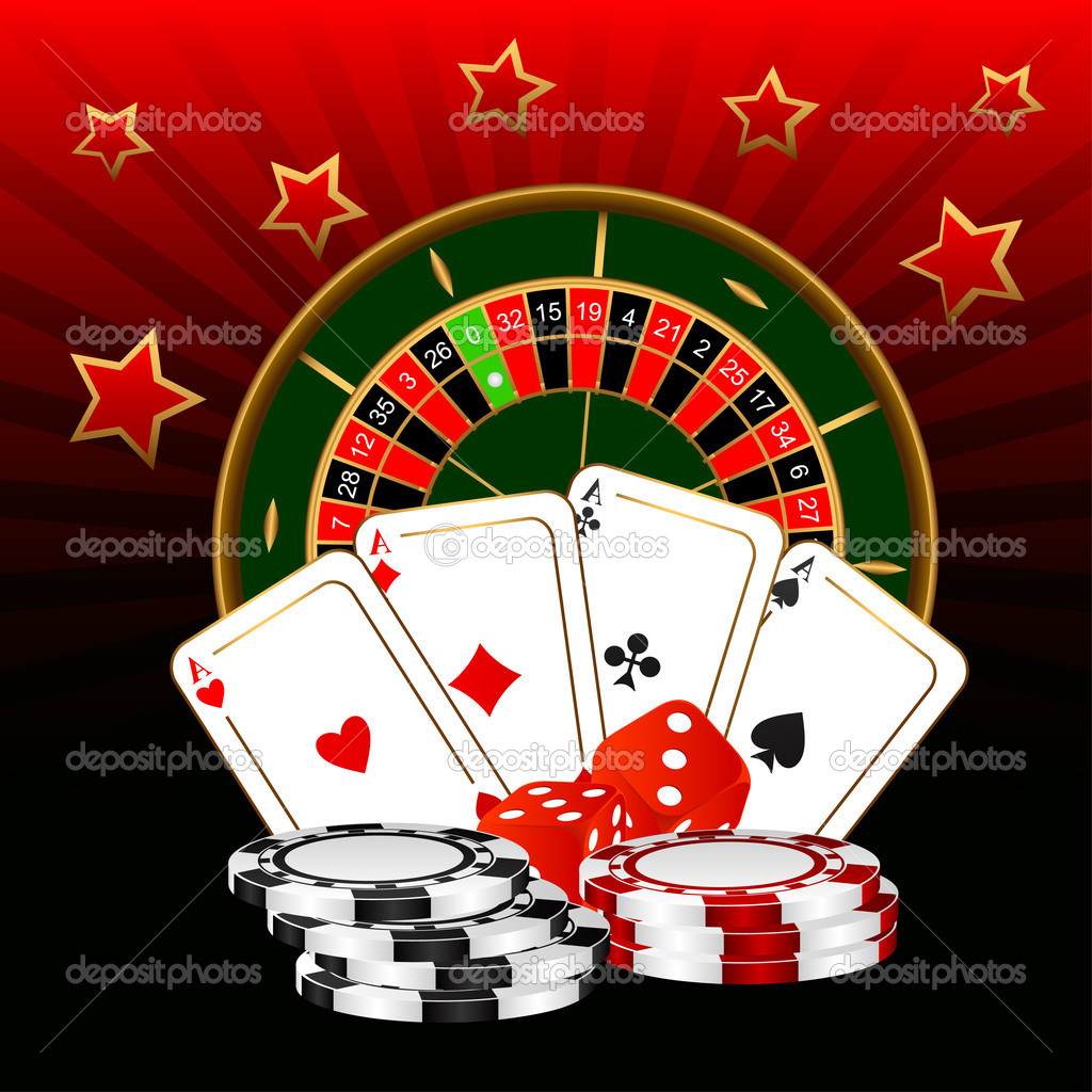 The roulette, four ases and dice against a dark background.  Stock Vector #6724047