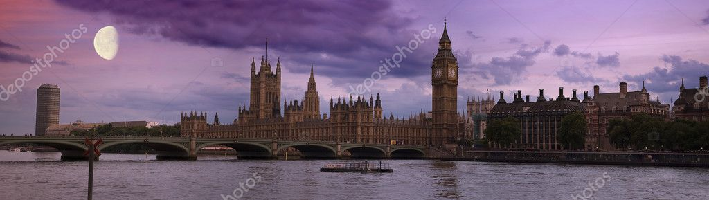 Big Ben, London at sunset panorama — Stock Photo #6209791
