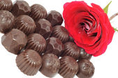 Rose e cioccolato — Foto Stock