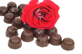 Rose and chocolate — Stockfoto