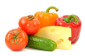 Fresh vegetables and sheese — Stock Photo