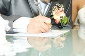 Bruiloft handtekening — Stockfoto
