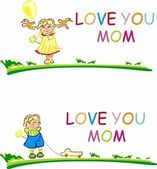 Stylized vector happy girl and boy with words Love you mom — Stock Photo