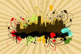 City background with splash and floral elementselements — Stock Photo