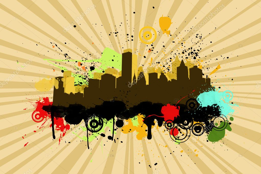 City background with grunge splash elementselements — Stock Photo #6723735
