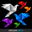 Colorful origami birds — Stock Vector